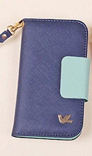 Mylife Federal Blue + Mint Green - Modern Design - Textured Koskin Faux Leather (Card And Id Holder + Magnetic Detachable Closing) Slim Wallet For Iphone 5/5S (5G) 5Th Generation Smartphone By Apple (External Rugged Synthetic Leather With Magnetic Clip +
