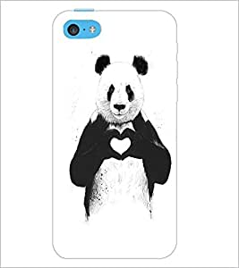 PrintDhaba Bear with Heart D-1469 Back Case Cover for APPLE IPHONE 5C (Multi-Coloured)