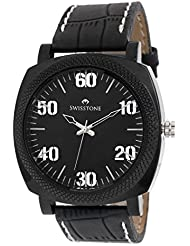 Swisstone GR0021-BLACK Black Dial Black Strap Analog Wrist Watch For Men/Boys