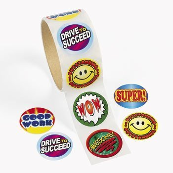 Fun Express 100 Student Encouragement Roll Stickers (1 Roll)