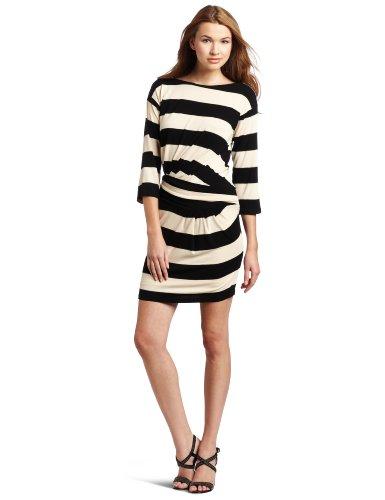Ali Ro Women's Rugby Striped Knit Dress, Honey Black, 6