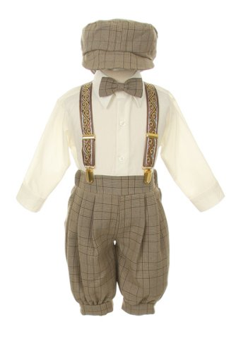 Vintage Dress Suit-Bowtie,Suspenders,Knickers Outfit Set for Baby Boys & Toddler, Brown Plaid 18M