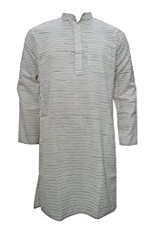 Indiatrendzs Men's Kurtas Cotton Printed Beige Ethnic Wear Short Kurta