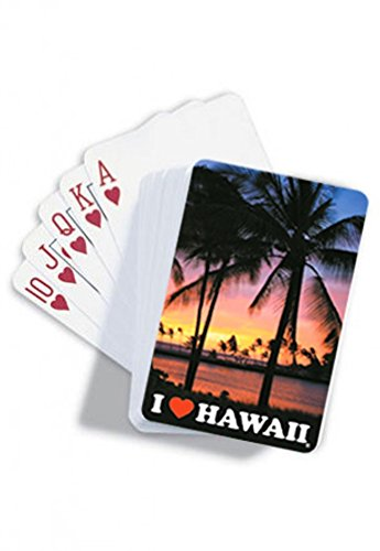 I Love Hawaii Sunset Playing Cards - 1