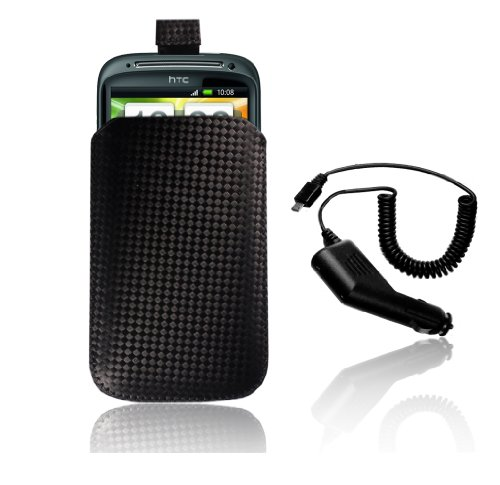 HIGH QUALITY HTC SENSATION BLACK CARBON FIBRE PU CASE | COVER | SKIN INCLUDED CAR CHARGER^^FREE UK SHIPPING