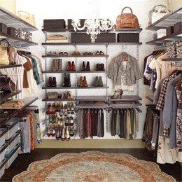 elfa~ decor Walk-In Closet Walnut & Platinum