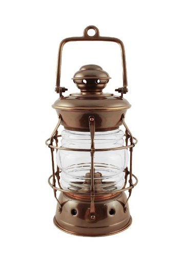 "Oil Lanterns - Antique Brass Brass Nelson Nautical Lamp 10.5"" - Hurricane Lanterns"