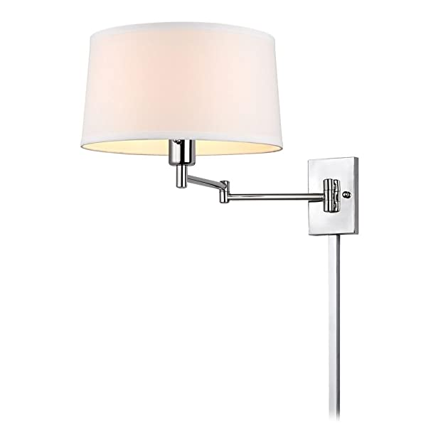 chrome swing arm wall lamp with drum shade and cord cover. Black Bedroom Furniture Sets. Home Design Ideas
