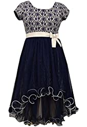 Bonnie Jean Big Girls' Navy Floral Lace Hi Low Special Occasion Holiday Dress