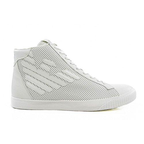 Scarpe uomo EA7 EMPORIO ARMANI, sneaker alta bianche art. 278044 6P299 (43 1/3, Bianco)