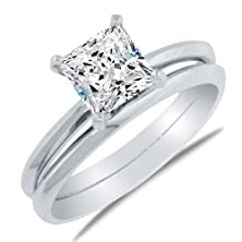 buy Size- 6 - Solid 925 Sterling Silver Princess Engagement Wedding Bridal 2 Two Ring Set Highest Quality Cz Cubic Zirconia Ring 1.5 Ct - With Elegant Velvet Ring Box