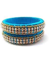 Ovis Creations Blue Silk Thread Bangle Set For Women