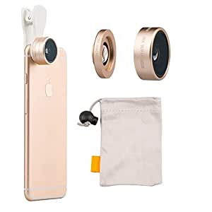iMoreGro Universal Professional HD Camera Lens Kit 0.36x Super Wide Angle Lens + 15x Super Macro Lens for iPhone 6s/6s Plus,iPhone 6/6 Plus, iPhone 5 5S 4 4S Samsung HTC Other Smartphones(Gold)
