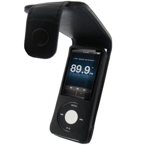 igadgitz echtes Leder Tasche Schutzhülle Etui Case Hülle aufklappbar in Schwarz für Apple iPod Nano 5G 5.Gen Generation (mit Videokamera) 8gb, 16gb + abnehmbare Karabinerhaken + Display Schutzfolie