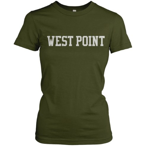 West. Point Collegiate Ladies Fine Jersey T-Shirt (White), Olive, S