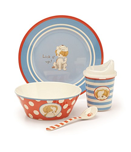 Bunnies By The Bay Puppy Dish Set, Lick It Up!