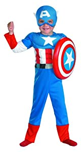 Captain America Toddler Muscle Costume,Toddler: 3T-4T