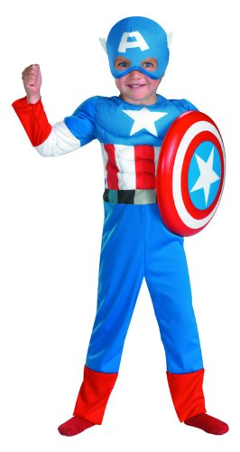 Disguise Captain America Toddler Muscle Costume, 3T-4T