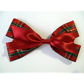 Glitter Red Plaid Double Ribbon Christmas Hair Bow