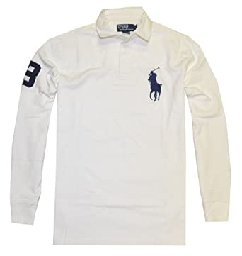 Polo Ralph Lauren Men Long Sleev Big Pony Logo Rugby T-Shirt (M, White)