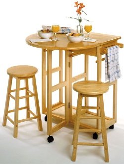 Cheap Drop Leaf Breakfast Bar with Two Stools (B001G2ZWTA)