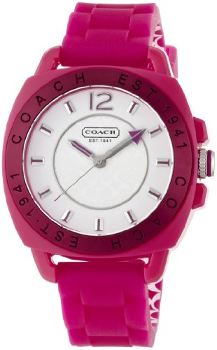Coach Signature Boyfriend Silicon Rubber Pink Watch Gift Box