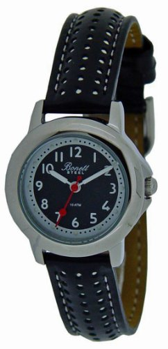 Bonett Children's Watch - Analog Quartz - Black Leather Strap - 1257S