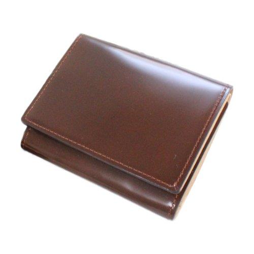 「FLYING HORSE」コードバン三つ折りコンパクト財布 (ブラウン)