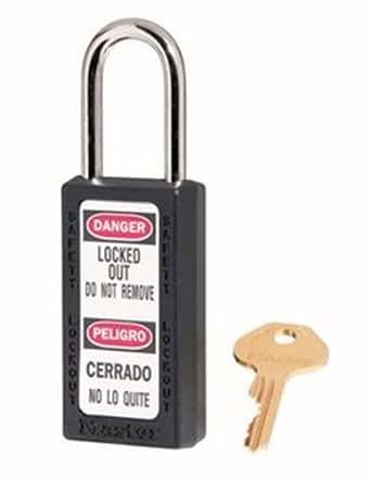 Master Lock 411BLK Safety Series Padlock, High Visibility Aluminum, 3 Inch Black