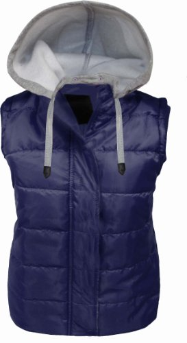 CANDY FLOSS WOMENS LADIES SLEEVELESS DRAW STRING HOODED QUILTED GILET BODYWARMER JACKET NAVY SIZE 14
