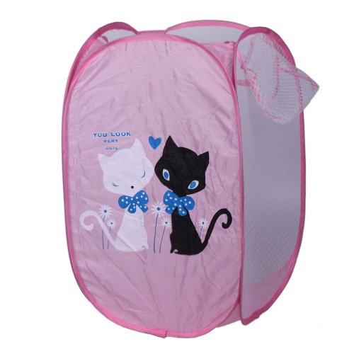 eozy-cute-cartoon-cats-foldable-pop-up-mesh-washing-laundry-basket-bag-bin-hamper-toy-tidy-storage
