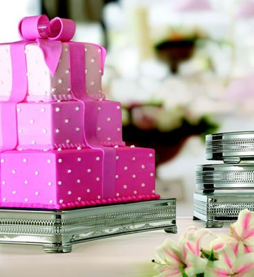 Silver Glass Wedding Cake Stand 20