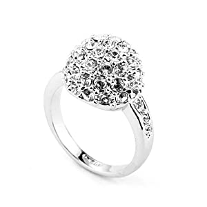 Magic Collection 18k White Gold Plated Swarovski Crystal Disco Ball Cocktail Cluster Ring R151 (18k White Gold Plated, 6.5)