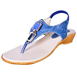Pooja Footwear Womens Blue Jute Sandal - 9 UK