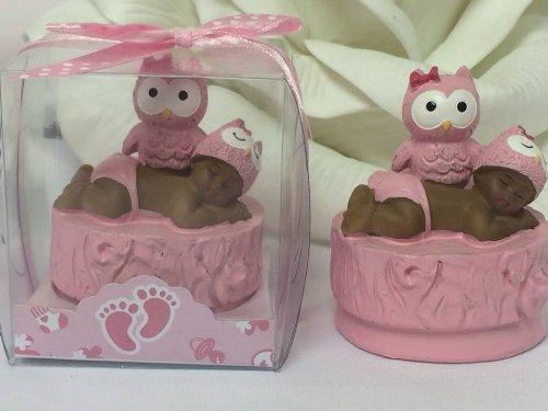 12 Ethnic Baby Shower Baby Girl With Pink Owl Favor In Box Favors Gift Keepsake Favor front-1073625