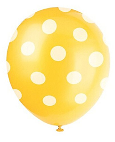 12pcs Yellow Big Polka Dot Latex Balloons 11 - 1