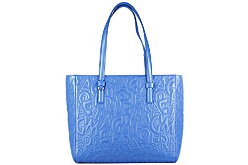 Salvatore Ferragamo borsa donna a spalla shopping in pelle nuova bonnie blu