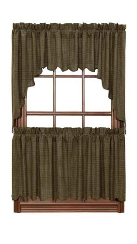 """Tea Cabin Green Plaid Tier Scalloped Set Of 2 L24Xw36"""" front-350178"""
