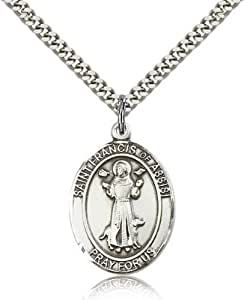 IceCarats Designer Jewelry Sterling Silver St. Francis Of Assisi Pendant 1 X 3/4 Inch