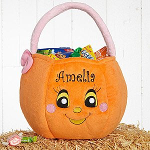 Personalized Halloween Pumpkin Girls Plush Trick Or Treat Bag front-1055431