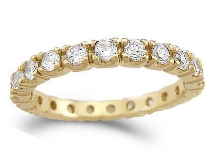 CZ Eternity Wedding Ring 14k Yellow Gold Anniversary Bridal 1.00 Carat, Size 8