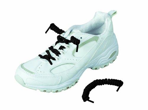 HealthSmart - Lacci scarpe elasticizzati a spirale, 2 paia, colore nero
