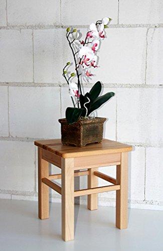 Hocker-Beistelltisch-Kernbuche-Blumenhocker-Sitzhocker-Buche-massiv