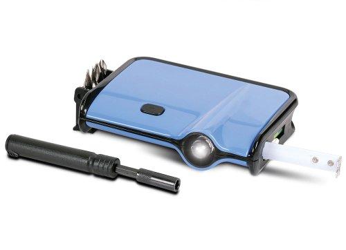 Simon 7-in-1 Multitool - Tape Measure, Level, LED Flashlight, 4 Screwdriver Tool Bits - Blue
