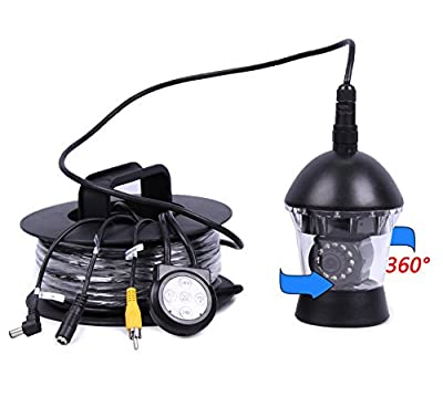 Vanxse® Underwater Fish Camera 1/3 Sony CCD 800tvl Hd 12pcs white LED Underwater Video Camera Cable 360 Degree View, OSD Menu Remote Control Fish Finder Camera (20Meters Cable)