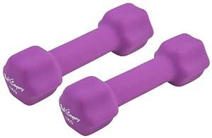 Neopren Gymnastik Hanteln Hantel Gewichte - Frei wählbare Gewichtsabstufungen, 2 x 1,0Kg Gymnastikhantel Lila