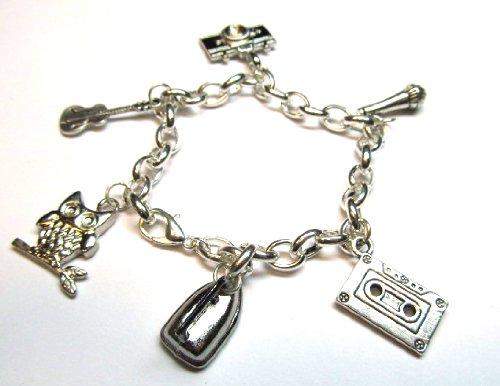 Miniblings Bettelarmband Armband mit Kamera Kassette Gitarre Eule Mikrofon, versilbert
