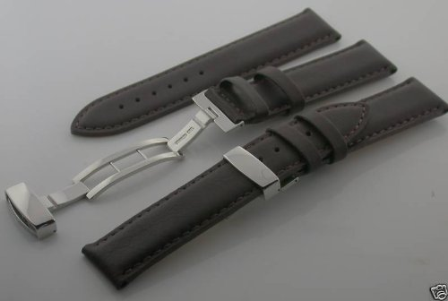 20Mm Leather Deployment Watch Strap For Rolex Watch D/Br #8