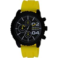 Henley Decorative Multi-Dial Men's Sports Quartz Watch with Black Dial Analogue Display and Yellow Silicone Strap H02056.9