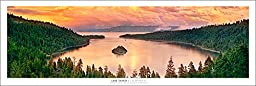 Emerald Bay Lake Tahoe At Sunset Panoramic Art Print Poster | New Release (Qualifies for Buy 2, get 3rd FREE)